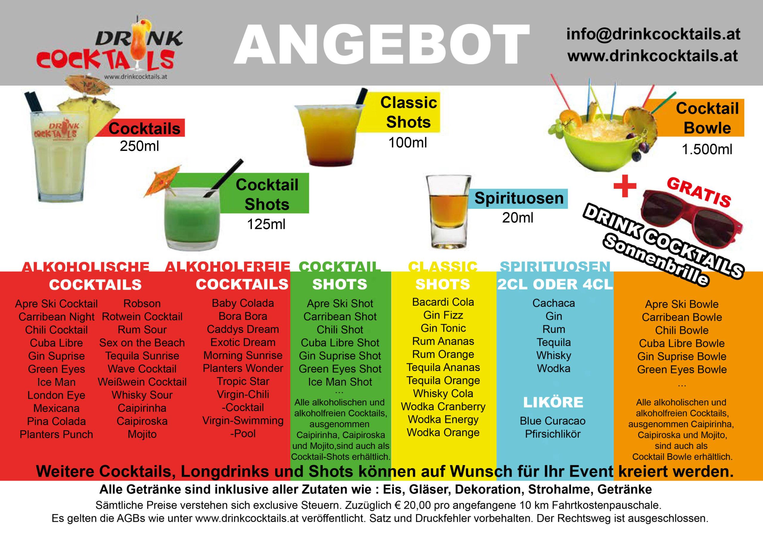 Drink Cocktails - Getränkeangebot Vorgestellt