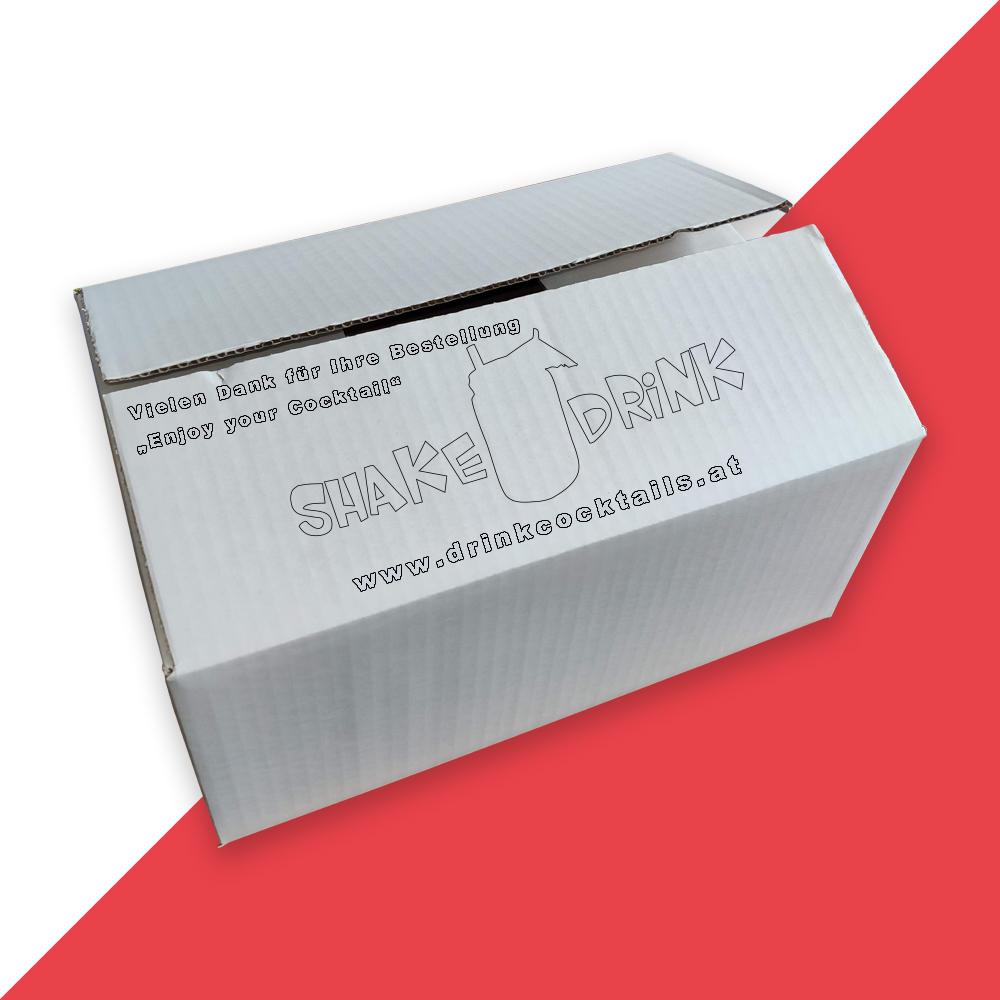 Karton Beispiel-Werbung mit Hintergrun rot 45grad